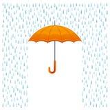 Regn och paraply stock illustrationer