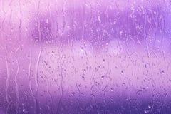 Regn på ett fönster i purpurfärgade färger Fotografering för Bildbyråer