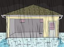 Regn som faller på garage med dörröppningen Arkivbild