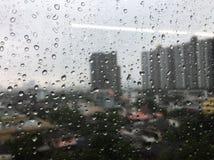 Regn som tappas på det glass fönstret arkivfoton