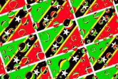 Regn tappar mycket av flaggor för helgon Kitts och Nevis royaltyfri foto