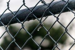 Regn tappar på staketet för den chain sammanlänkningen efter en storm arkivbild