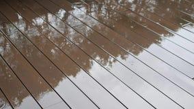 Regn tappar stekflott på det Eooden golvet Tropisk regnig säsong i Thailand bakgrundsbegrepp 4K lager videofilmer
