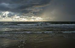 Regna över Östersjön på solnedgångtid fotografering för bildbyråer
