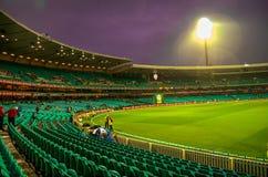 Regna den tvättade Indien Sydafrika matchen i Sydney Cricket Groun arkivfoto
