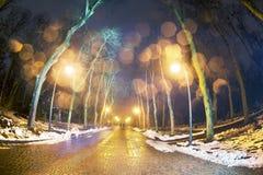 Regna snöslask och regna i fyrkanten Arkivfoton