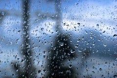 Regna tappar på fönster royaltyfri fotografi