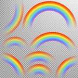 Regnbågar i realistisk uppsättning för olik form 10 eps Royaltyfria Bilder