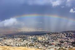 Regnbåge över Cana av Galilee, Israel Royaltyfria Foton