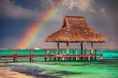 Regnbåge över den tropiska stranden i Punta Cana, dominikan Republi royaltyfria bilder