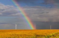 Regnbåge över fältet Arkivfoto