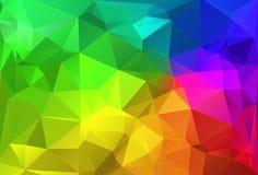 Regnbåge för bakgrund för polygontriangelabstrakt begrepp färgrik stock illustrationer