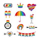 Regnbåge för flagga för stolthet för LGBT-symbolsvektor fastställd royaltyfri illustrationer