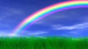 Regnbåge, gräs & fridsam himmel vektor illustrationer