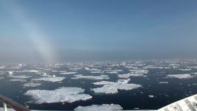 Regnbåge i havet bland isberg och is i arktisk lager videofilmer
