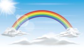 Regnbåge i himmelbakgrunden Royaltyfria Bilder