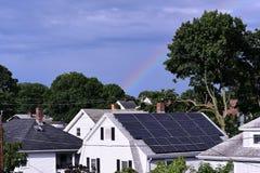 Regnbåge i skyen arkivbild