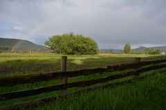 Regnbåge i skyen ovanför skogen royaltyfria bilder