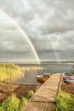 Regnbåge Lake royaltyfri fotografi