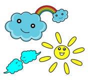 Regnbåge med moln och solen Arkivfoto