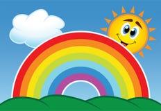 Regnbåge, moln och sun Arkivbilder