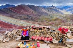 REGNBÅGE MOUNTAINES, PERU Fotografering för Bildbyråer