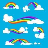 Regnbåge och moln i plan stil klar vektor för nedladdningillustrationbild Arkivbild
