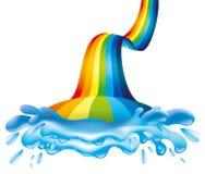 Regnbåge- och vattenfärgstänk Fotografering för Bildbyråer