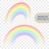 Regnbåge på en genomskinlig bakgrund Realistisk regnbågeeffekt i form av en båge i en delikat färgpalett vektor stock illustrationer