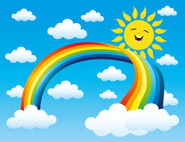 Regnbåge, sol och moln Royaltyfria Bilder