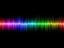 Regnbåge Soundwave med svart bakgrund Fotografering för Bildbyråer