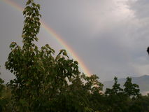 Regnbåge till berget Arkivbild