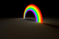 Regnbågebåge som glöder i ljus för mörk färg Royaltyfri Bild