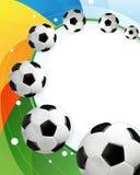 Regnbågebakgrunds- och fotbollbollar royaltyfri illustrationer
