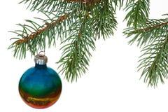 Regnbågeboll på filialen av julgranen Arkivbild