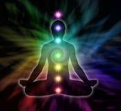 RegnbågeChakra meditation stock illustrationer