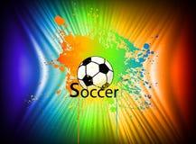 Regnbågefärgpulverbakgrund med fotbollbollen. Vektor Royaltyfria Bilder