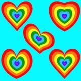 Regnbågehjärtauppsättning 2 Arkivbild