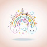 Regnbågehjärtor Arkivfoto