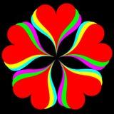 Regnbågehjärtor på svart Royaltyfri Bild