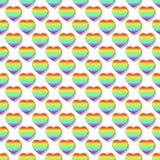 Regnbågehjärtor som bakgrundsmodell (sömlösa) 015 Fotografering för Bildbyråer