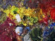 Regnbågemålarfärg färgar konstnären Palette Arkivfoton