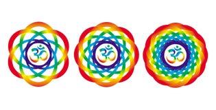 Regnbågemandala med ett tecken av Aum Om Abstrakt konstnärligt objekt vektor illustrationer