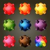 Regnbågeminer för lek för match tre vektor illustrationer