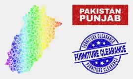 Regnbågen färgade del- skyddsremsor för stämpeln för rensning för möblemang för för den Punjab landskapöversikten och Grunge royaltyfri illustrationer