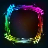 Regnbågen färgar den glänsande ramen för neonljus royaltyfri illustrationer