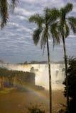 Regnbågen gömma i handflatan och vattenfall royaltyfri bild