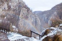 RegnbågePlitvice sjöar Arkivfoto