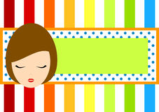 Regnbågerametikett med flickaframsidan Arkivbild