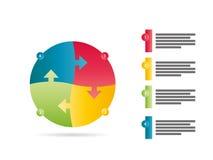 Regnbågespektret färgade den fyra sidmallen för diagrammet för vektorn för pilpusselpresentationen infographic med det förklarand Royaltyfria Bilder